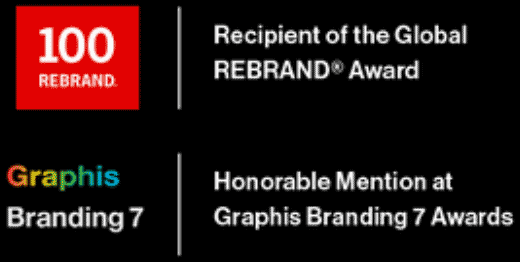 100 Rebrand Recipient of the Gobal REBRAND Award. Graphis Branding 7 Honorable Mention at Graphis Branding 7 Awards